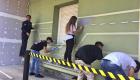 Ragazzi dipingono il murales nell'aeroporto di Boccadifalco